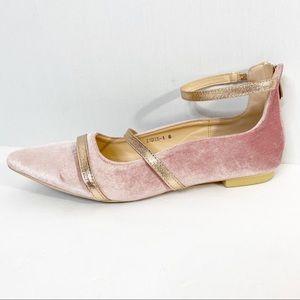 Cape Robin Pink Velvet Zadie Pointy Flat Size 8